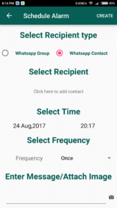 Scheduler For Whatsapp Select Recipient