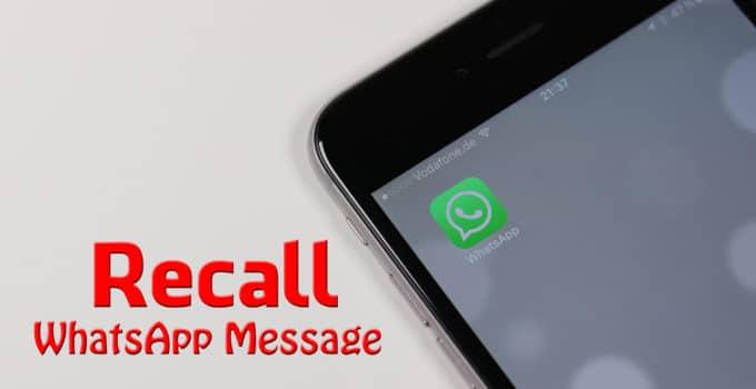 Recall WhatsApp Message
