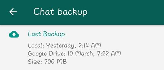 Last Backup Time