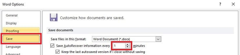 MS Word Save Options
