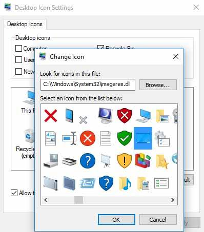 Select Default Windows Icon
