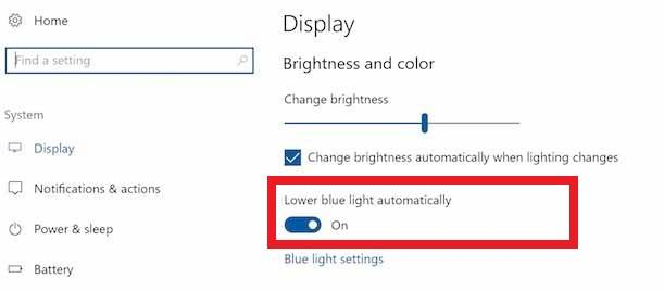 Lower Blue Light Automatically