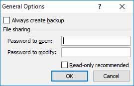 Set Excel Password