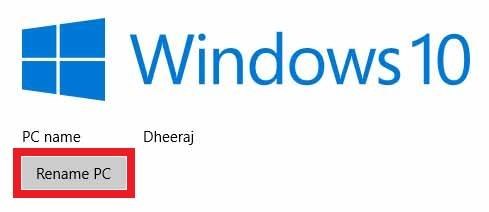 Rename Windows 10 PC