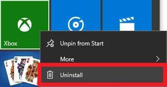 Uninstall Xbox