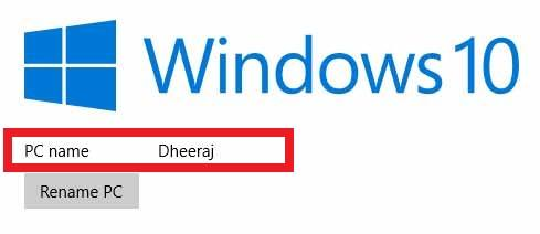Windows 10 Rename PC