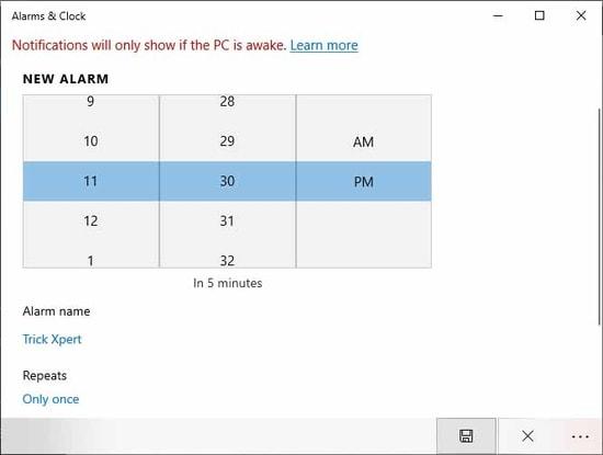 Set Alarm In Windows